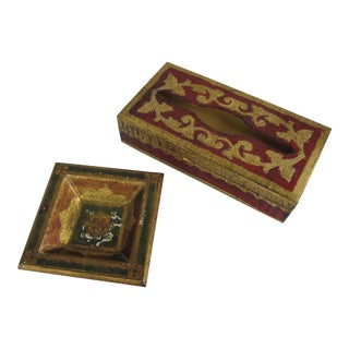 Florentine Tissue Box & Catchall - A Pair For Sale