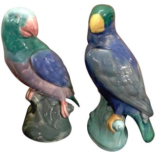 Pair of English Majolica Parrot Figures by Mintons For Sale
