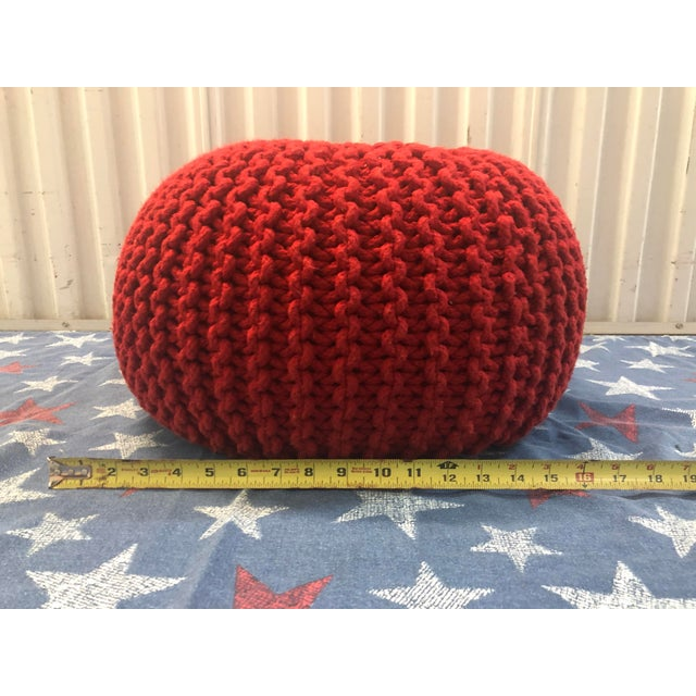 Strange Vintage Flame Red Retro Knitted Crochet Foot Stool Pouf Cjindustries Chair Design For Home Cjindustriesco