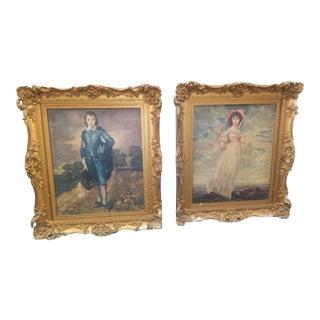 Antique Folk Art Framed Prints - a Pair For Sale