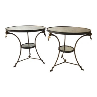 Pair of 1990s Mirrored Gueridon Tables For Sale