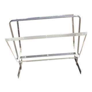 Mid Century Modern Lucite and Chrome Magazine Rack For Sale