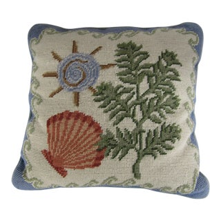 Vintage Shell Needlepoint Pillow