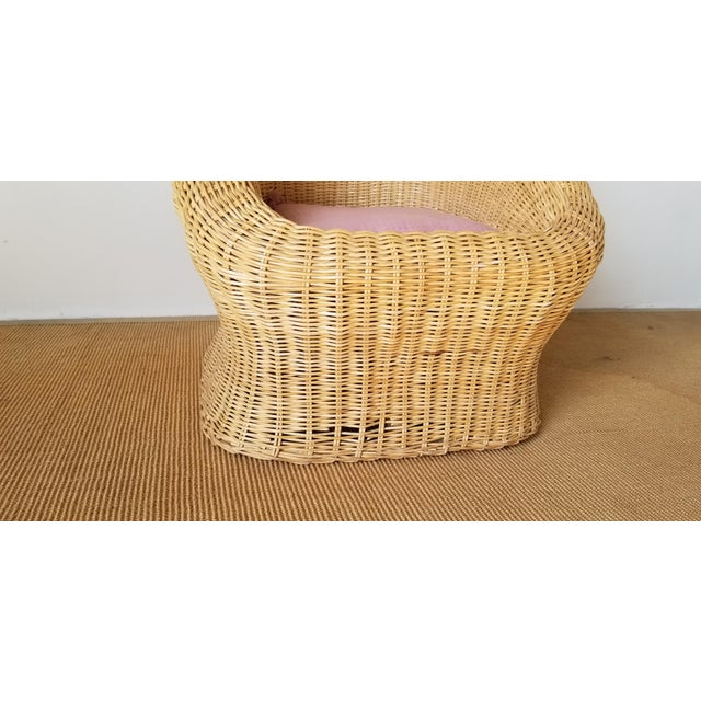 Brown Vintage Woven Wicker Club Chair For Sale - Image 8 of 11