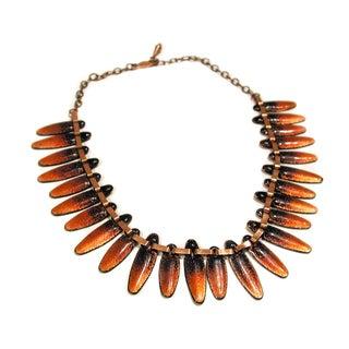 Matisse Nefertiti Modernist Enamel Copper Necklace