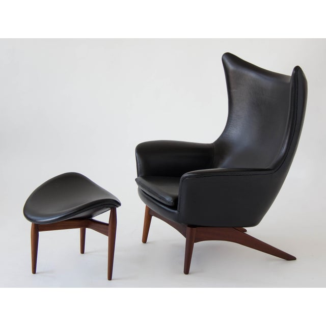 H.W. Klein Leather Reclining Lounge with Ottoman - Image 2 of 11