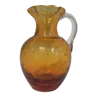 1970s Amber Blown Glass Miniature Pitcher For Sale