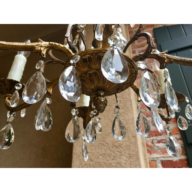 French Vintage Six Light French Brass and Crystal Chandelier For Sale - Image 3 of 13