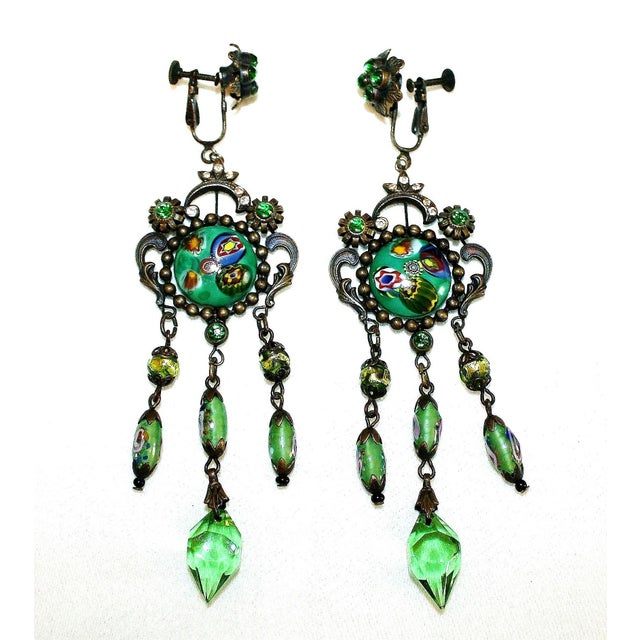 Czech Glass Long Dangling Green Chandelier Earrings With Screw-Clip Back For Sale In Los Angeles - Image 6 of 8