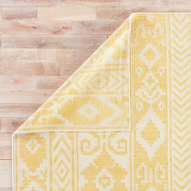 Contemporary Jaipur Living Farid Handmade Ikat Yellow/Cream Area Rug - 9′ × 12′ For Sale - Image 3 of 6