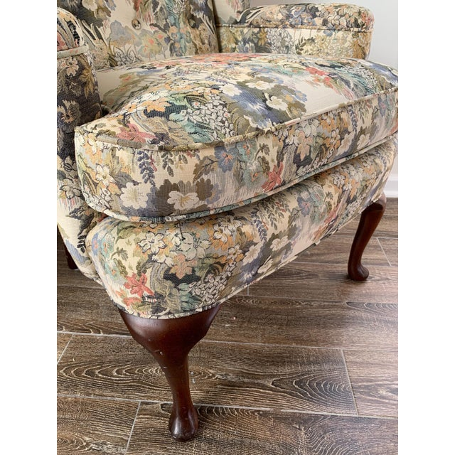 Custom Floral Wingback Chair For Sale - Image 9 of 12