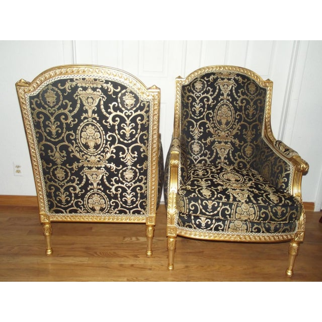French Late 20th Century Vintage Louis XVI Style Gilt Wood Bergeres - A Pair For Sale - Image 3 of 4