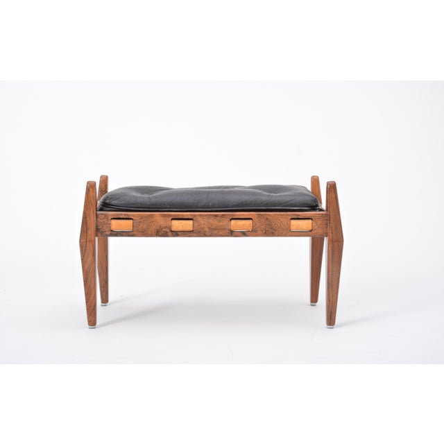 Black Vintage Leather Ottoman/ Foot Stool, Attributed to Sergio Rodrigues For Sale - Image 9 of 12