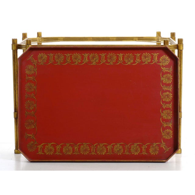 Vintage Gilt Iron Cocktail Table With Red-Painted Wooden Tray, 20th Century For Sale - Image 6 of 13