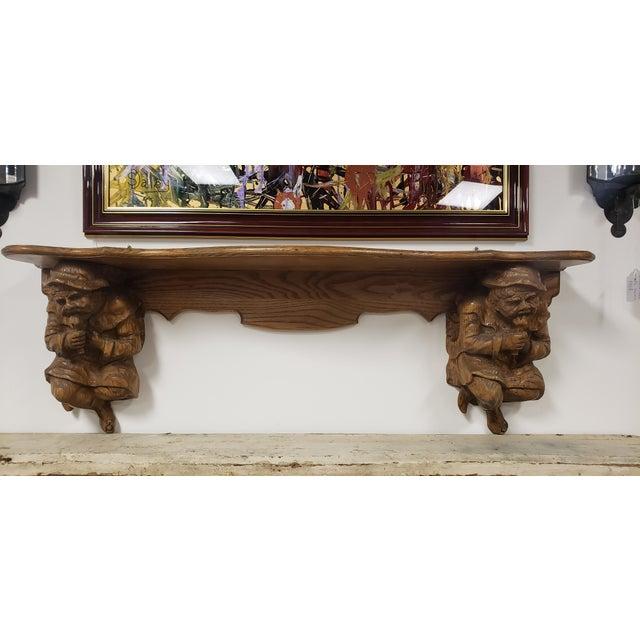 Antique Hand Carved Black Forest Oak Mantle For Sale - Image 10 of 10