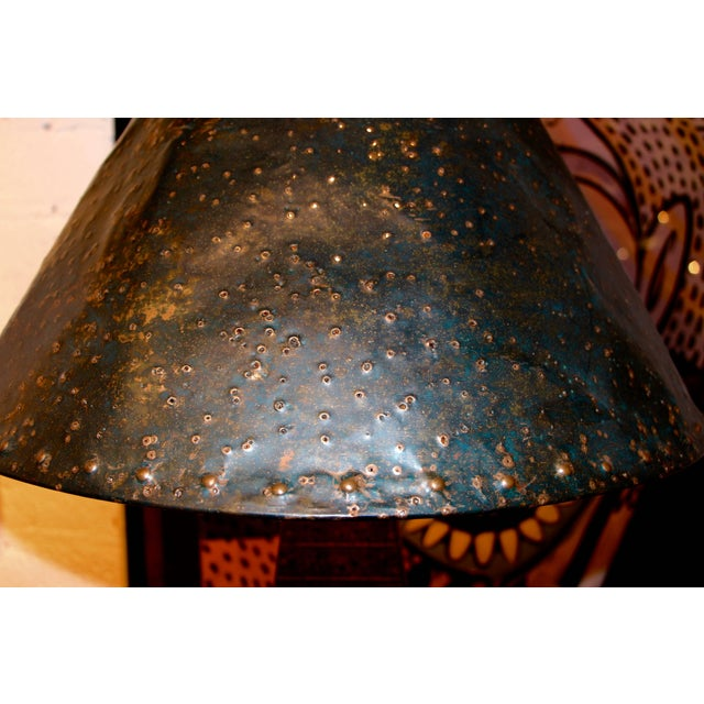 Hollywood Regency Hand-Hammered Patchwork Copper Lamp and Shade For Sale - Image 3 of 10