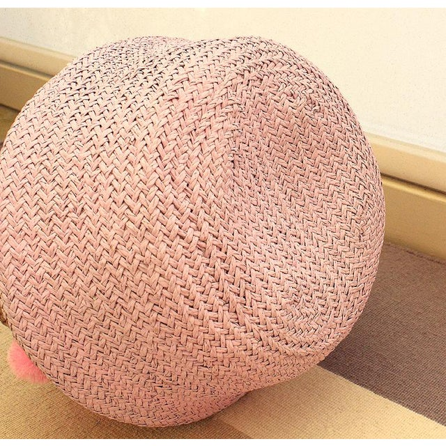 Fiber Double Woven Sea Grass Pastel Pink Pom Poms Belly Basket For Sale - Image 7 of 7