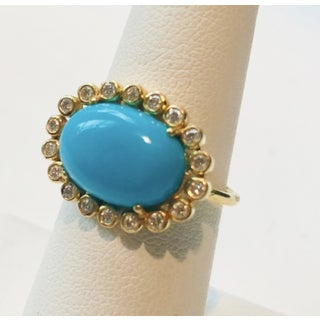New Contemporary Designer Diamond and Turquoise 18 Karat Gold Ring Preview
