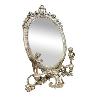 19th C. French Figural Silver-Plated Mirror