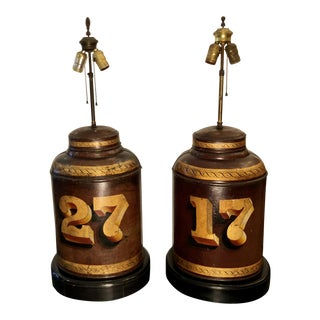 Pair of Antique 19c Parnall & Sons Red Tole Tea Canister Designer Lamps For Sale