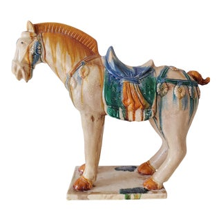 Large San Cai Tang Horse Reproduction Figurine For Sale