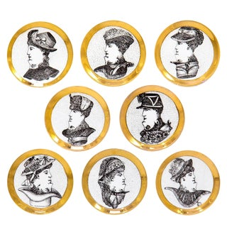 Porcelain Fornasetti Face Coasters, Set of 8