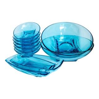 Mid Century Modern Aqua Blue Serving Glassware 1960's by Hazel Atlas - 10 Piece Set For Sale