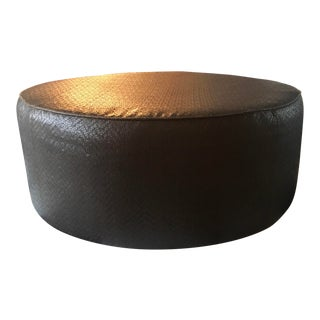 Vintage Leather Ottoman in the Style of Ralph Lauren For Sale