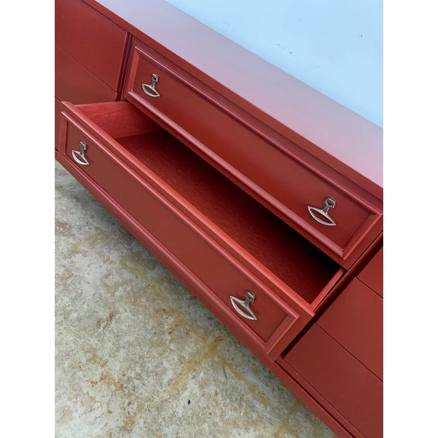 Paint Dixie Mid-Century Brick Red 9 Drawer Dresser For Sale - Image 7 of 11