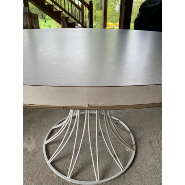 Metal Mid-Century Modern Tulip Base Dining Table & Chairs by Blacksmith Shop For Sale - Image 7 of 13