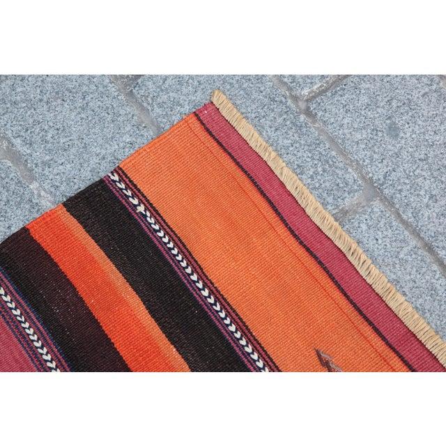 Turkish Floor Orange Stripe Kilim Rug - 4' x 2' 7'' - Image 7 of 11