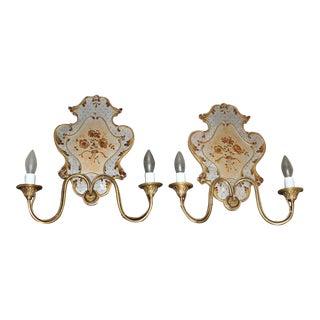 1950s Italian Venetian Eglomise & Brass Wall Sconces - a Pair For Sale