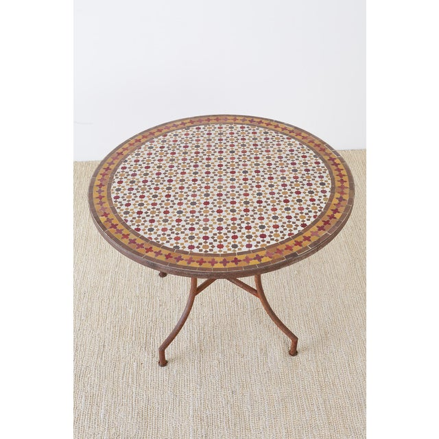 Islamic Spanish Dining Table With Moroccan Mosaic Tile Inlay For Sale - Image 3 of 13