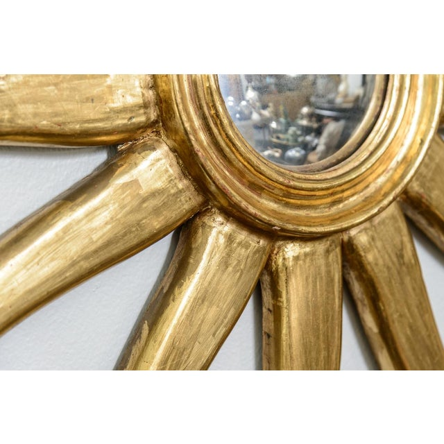 French Giltwood Sunburst Convex Mirror - Image 9 of 10