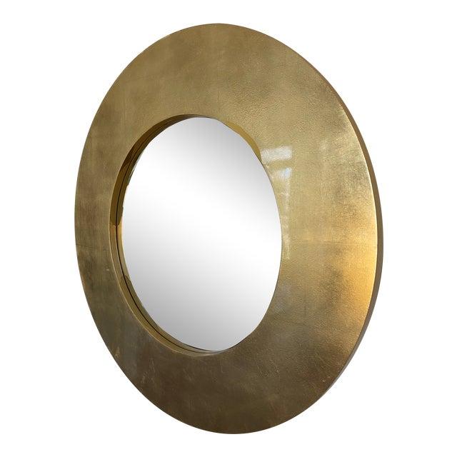 Gold Leaf Round Mirror For Sale