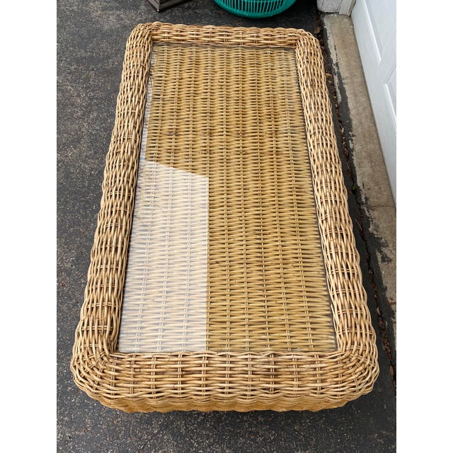 Natural Woven Rattan and Glass Plinth Coffee Table For Sale In Milwaukee - Image 6 of 8