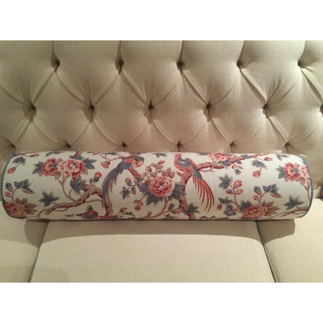 Boho Chic Bennison Floral Bolster and Knife-Edge Pillows - Set of 3 For Sale - Image 3 of 7