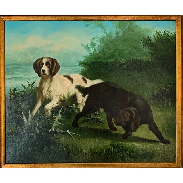 """Hunting Dogs in Landscape"" Artist Unknown (American School late 19th-early 20th century) Oil on canvas Signed illegibly..."