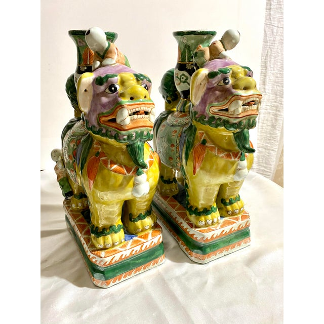 Chinese Foo Dog Candlesticks - a Pair For Sale - Image 13 of 13