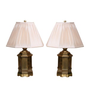 Octagonal Brass Lamps With Ruched Shades - a Pair For Sale