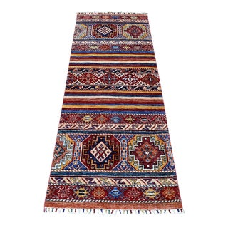 Red Khorjin Design Runner Kazak Geometric Hand Knotted Pure Wool For Sale