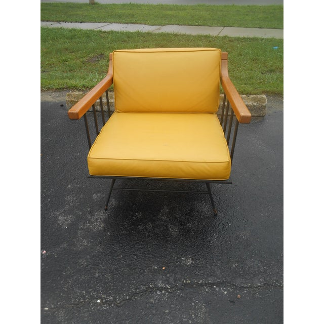 Mid-Century Modern 1960s Vintage Mid-Century Modern Maple & Iron Lounge Chair For Sale - Image 3 of 7