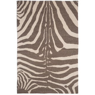 Zebra Design Brocade Weave Area Rug - 6′ × 9′ For Sale