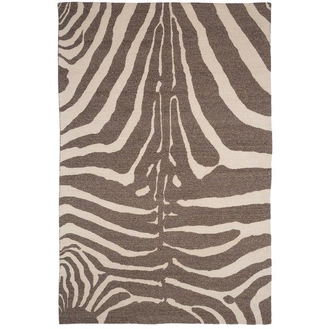 Zebra Design Brocade Weave Area Rug - 6′ × 9′ For Sale