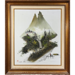 Oil and Horsehair on Canvas Painting of Oriental Scenery by Chen Mao For Sale