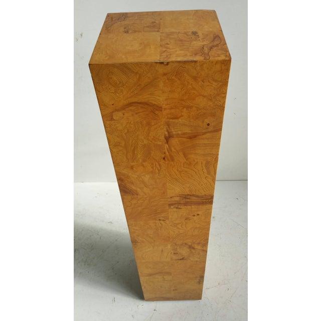 Milo Baughman Modernist Burl Walnut Patchwork Pedestal by Milo Baughman For Sale - Image 4 of 6