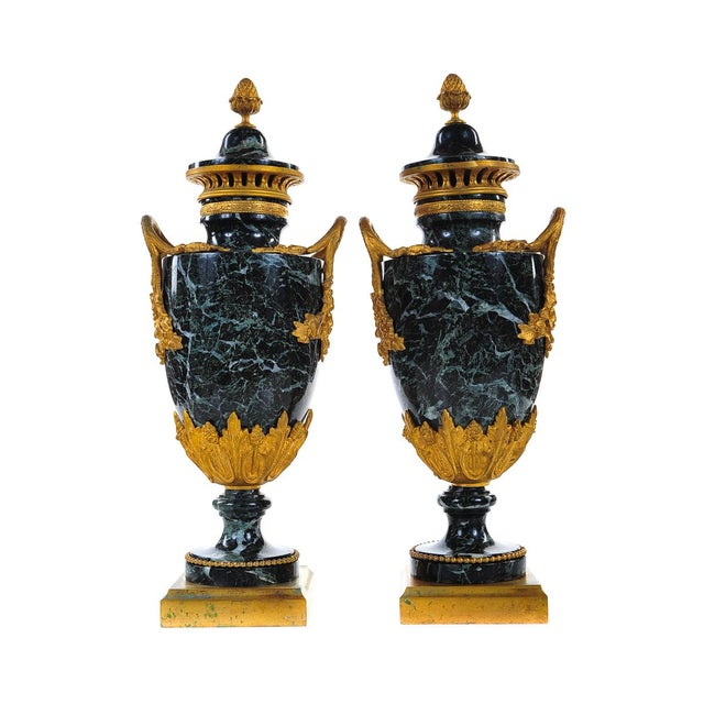 19th C. French Marble Gilt Urns - A Pair For Sale