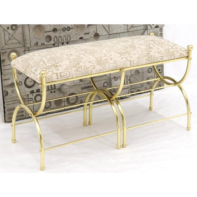Mid 20th Century Solid Brass Frame Midcentury Window Bench New Upholstery For Sale - Image 5 of 13