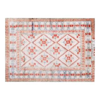 "1920s Traditional Red and Gray Cotton Rug - 4'3""x6'5"" For Sale"