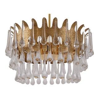 1960s Ernst Palme for Palwa Chandelier in Gilt Brass & Crystal, German For Sale
